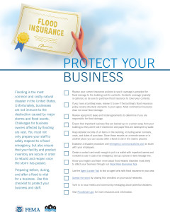 This one pager provides business owners with a checklist of important issue to think through in order to protect their business from the damages of flooding.